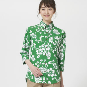 EP8302七分袖アロハシャツモデル画像